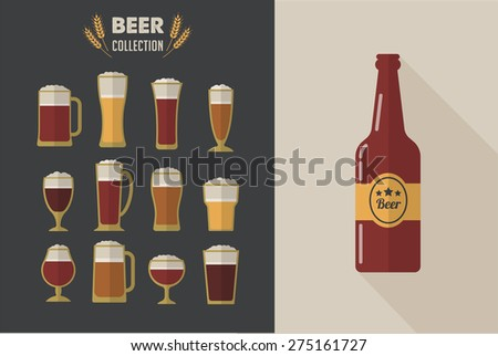 collection of flat vector beer