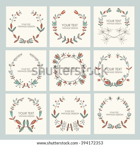 Collection of floral wreath, hand drawn. #394172353