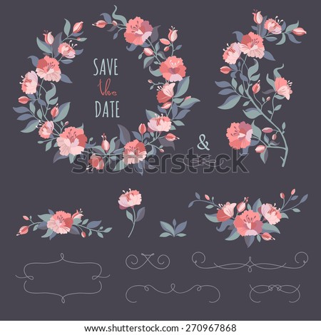Collection of floral wreaths, twigs, border. Set of hand-drawing calligraphic borders. Decorative elements for design invitation, cards. Floral vector graphic.