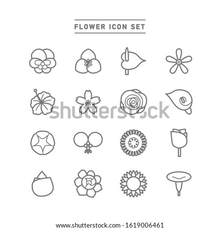 collection of flower line icons