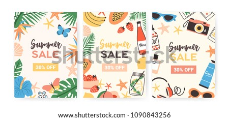 Collection of flyer templates for summer sale promotion or advertisement decorated with jungle foliage, exotic flowers, tropical fruits, sunglasses, seashells. Flat colorful vector illustration