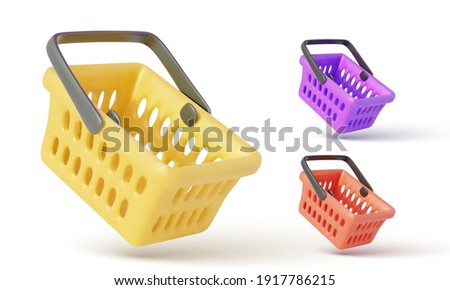 Collection of flying realistic shopping carts isolated on white background. Empty shopping basket. Vector illustration