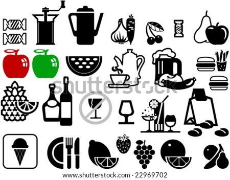 Collection of food and beverages symbols