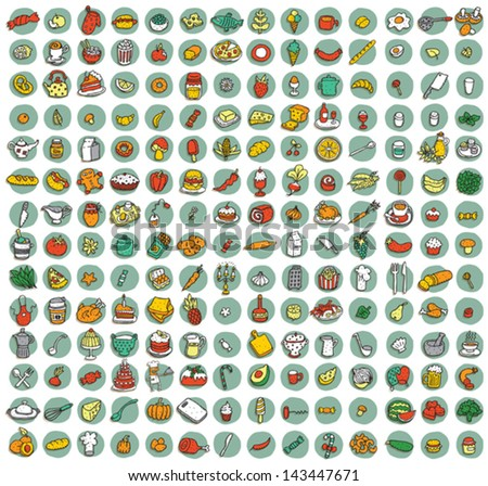 Collection of 196 food and kitchen doodled icons vignette with shadows on background in colours Individual illustrations are isolated and in eps10 vector mode