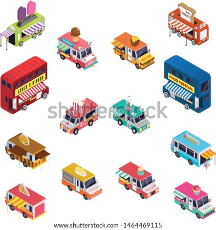 Collection of food trucks vector