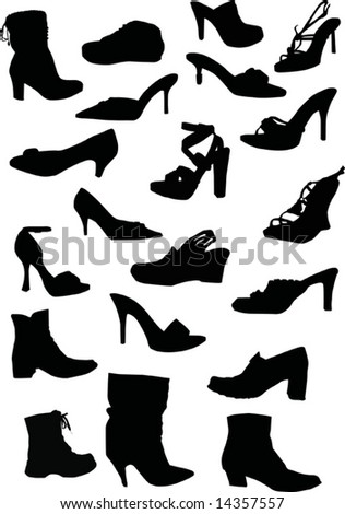 collection of foot-wears silhouettes isolated on white background