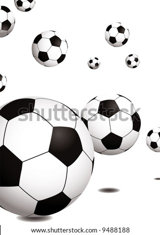 stock vector : Collection of footballs bouncing on a plain white background