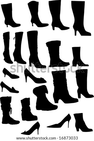 collection of footwear silhouettes isolated on white background