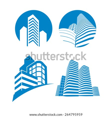 Collection of four blue office building icons.