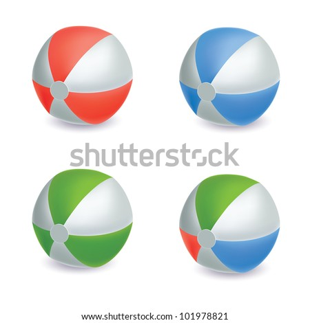 Collection of four different colored beach balls. mesh vector illustration. isolated on white background.