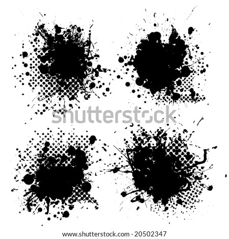Collection of four ink splats with halftone dots in black