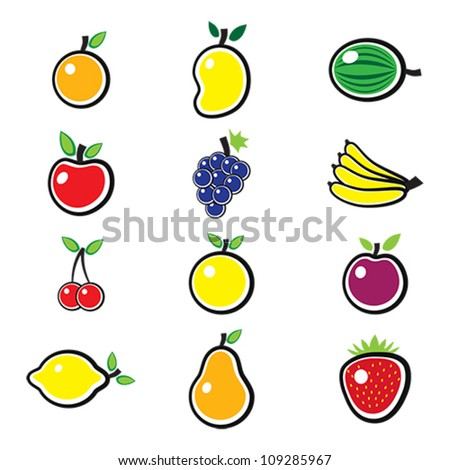 Collection of fresh, colorful and organic summer fruits illustration. The fruits include mango, apple, banana, orange, lemon, sweet lime, grapes, strawberry, pear, plum, berries, watermelon, etc.