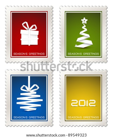 Collection of fresh modern vector postage stamps