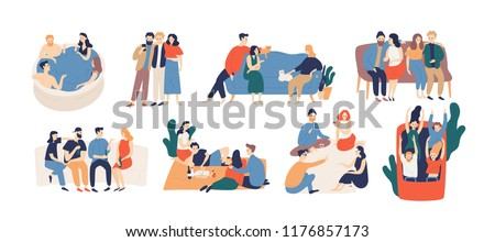 Collection of friends spending time together. Bundle of young men and women playing game, riding roller coaster, talking, having picnic lunch. Colorful vector illustration in flat cartoon style.