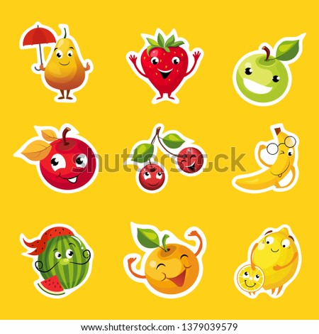 collection of fruits stickers