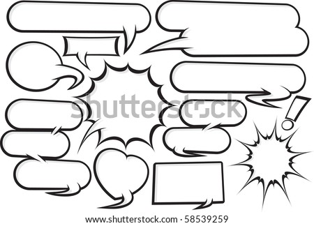 collection of fully editable funky cartoon style speech bubbles. Manipulate these bubbles to whatever shape and size you need.