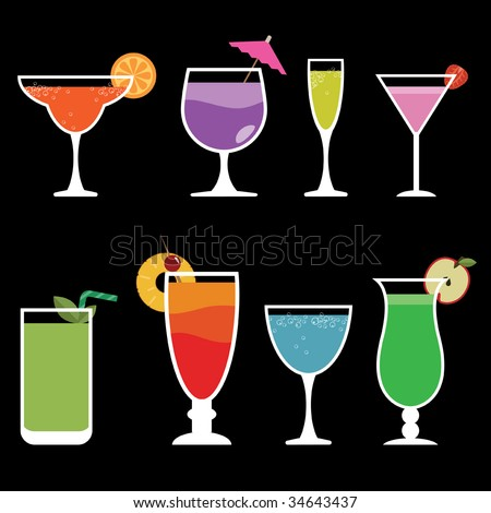 collection of funky glasses with colorful cocktail drinks