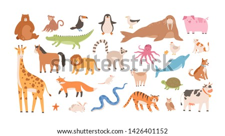 Collection of funny adorable wild exotic and domestic animals - cute mammals, reptiles, birds isolated on white background. Set of childish design elements. Vector illustration in flat cartoon style. stock photo