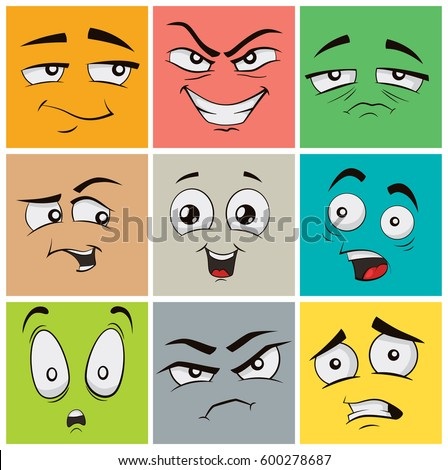 Collection of funny cartoon facial expressions, emoticons #600278687