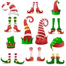 Collection of funny elves shoes and hats christmas. Shoes for elves feet, Santa Claus helpers. Christmas gnome legs in funny shoes. Vector illustration