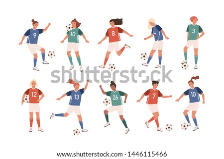 Collection of funny female football players isolated on white background. Bundle of cute happy women playing soccer. Set of teenage girls kicking ball. Flat cartoon colorful vector illustration.