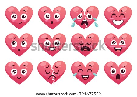 Collection of funny heart emoticons isolated on white background. Cartoon style. EPS 10 Vector illustration. Set 2 of 2.