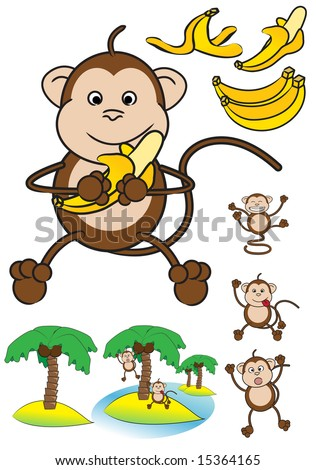 ... of funny monkeys, banana's and palm trees islands. - stock vector
