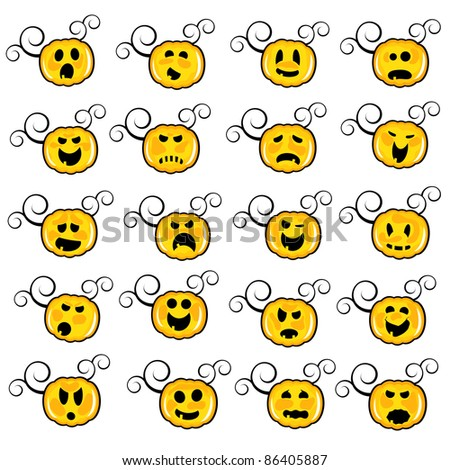 collection of funny pumpkin faces