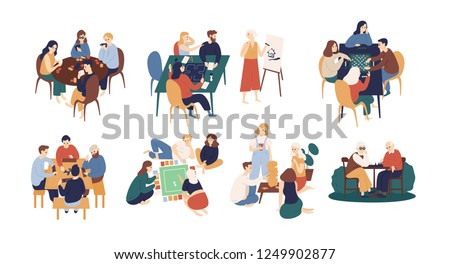 Collection of funny smiling people sitting at table and playing board or tabletop games. Home leisure activity for friends or family members. Colorful vector illustration in flat cartoon style.
