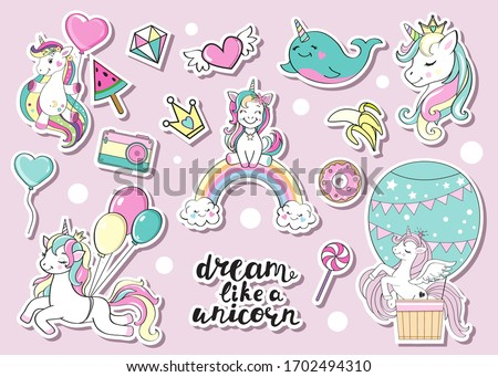 Collection of funny unicorns on a pink background. Birthday concept. Vector illustration
