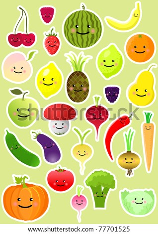 Collection of funny vegetables and fruit. Vector illustration