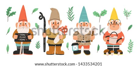 Collection of garden gnomes or dwarfs holding lantern, banner, mushroom, watering can. Set of cute fairytale characters. Bundle of lawn ornaments or decorations. Flat cartoon vector illustration.