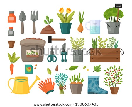 Collection of garden tools and plants. Gardening or horticulture concept. Design elements for print, packaging or stickers. Vector illustration. Foto stock ©