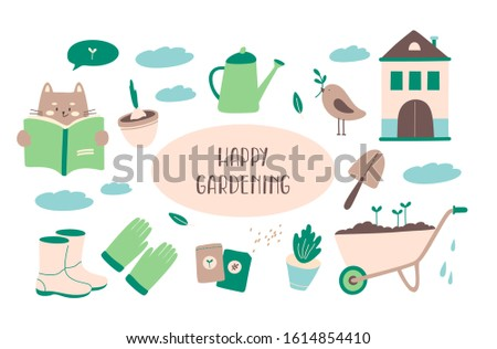 Collection of gardening tools for gardening isolated on white background. Cat reading a book, gardener shoes, gloves, watering can, seeds, spade, wheelbarrow, bird, clouds. Flat vector illustration.