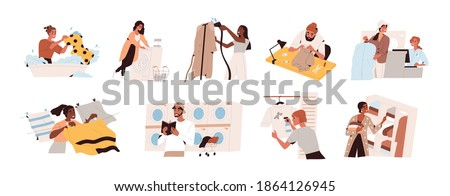 Collection of garment care scenes of cleaning, washing, laundrying, drying, spot removing, repairing and steaming clothing. Set of colorful flat vector illustrations isolated on white background