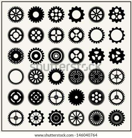 collection of 36 gear wheels