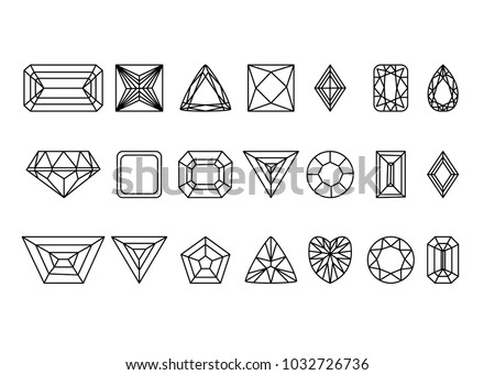 Collection of gems and gemstones. Types of diamond cutting. A set of jewels. Jewelry, jewelery and precious stones. Isolated Vector Illustration.
