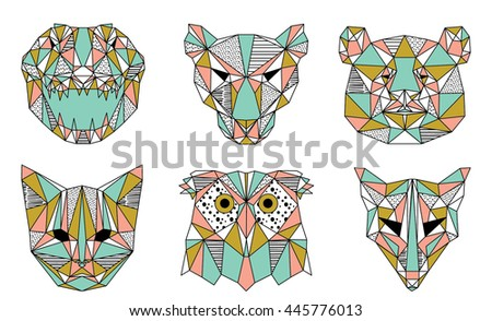collection of geometric animals