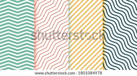 Collection of geometric minimal lines pattern set. Editable vintage colored vector illustration. Foto stock ©