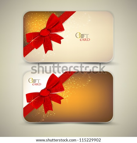 Collection of gift cards with red ribbons. Vector background - stock vector