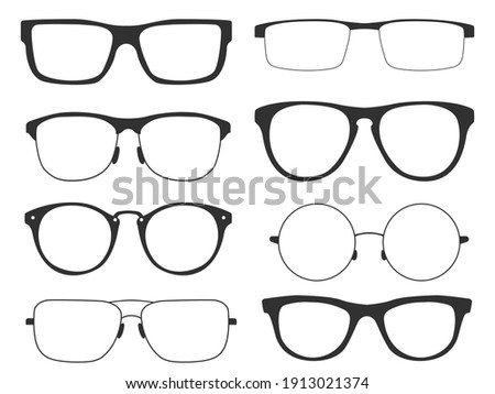 Collection of glasses. Retro glasses with black frames for man and woman, isolated on white background. Vector illustration