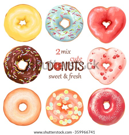 Collection of glazed colored donuts, vector 2 mix.