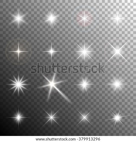 Collection of glittering stars and flickering lights. Transparent light effects. Vector illustration