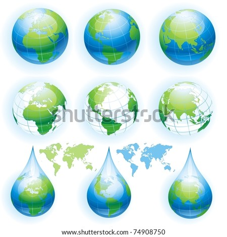 Collection of globes. Vector illustration.