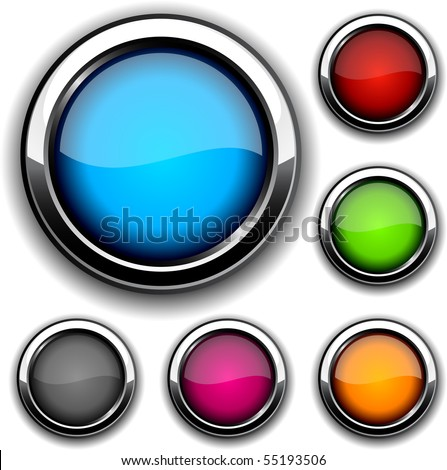 Collection of glossy buttons. Vector illustration.