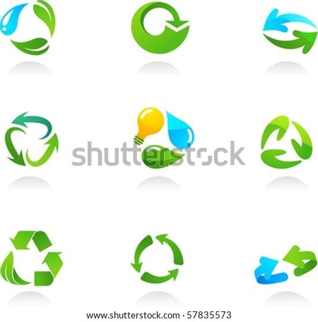 Collection  of glossy 3d recycling icons
