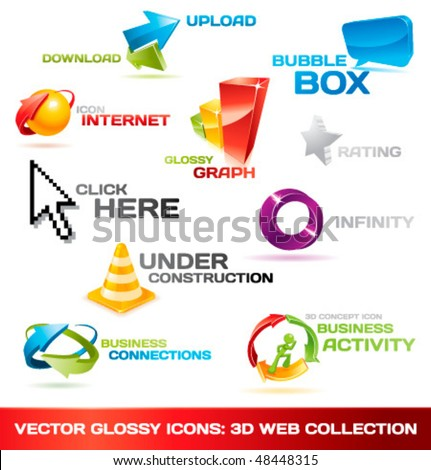 Collection of glossy 3d vector icons for your business artwork