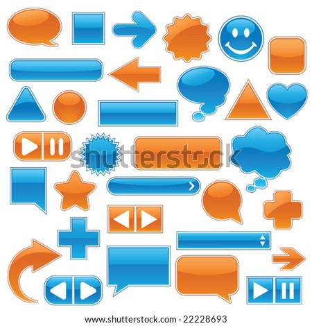 Collection of glossy, glowing web buttons and icons, in bright blue and orange.