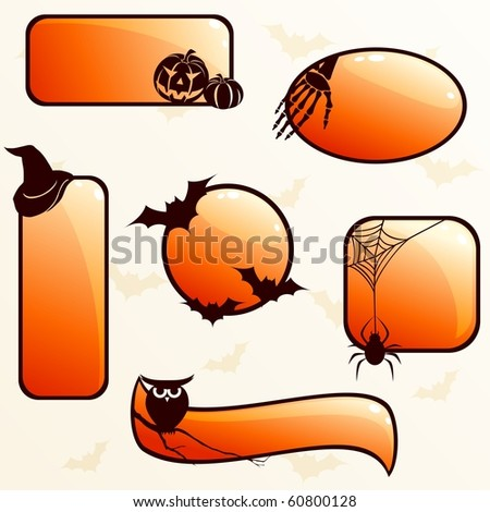 Collection of glossy Halloween banners (Eps10); jpg version also available