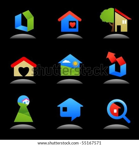 Collection of glossy real estate  icons